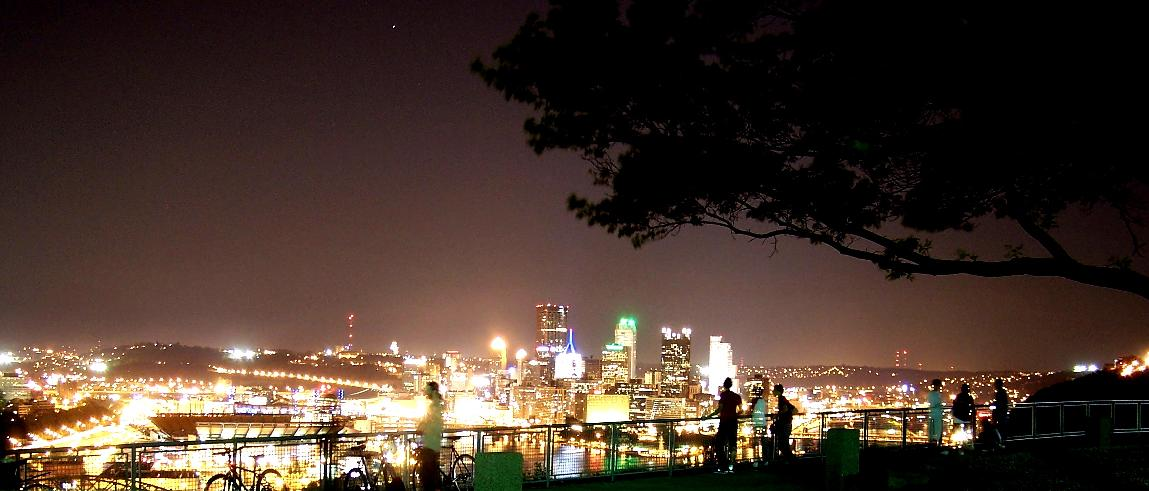 A great view of the city of Pittsburgh from the west side at night